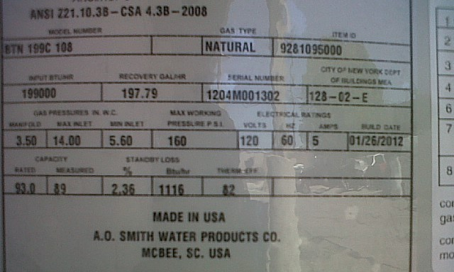 commercial water heater rating plate